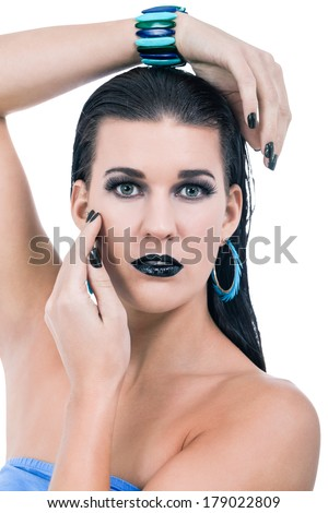 Beautiful Graceful Naked Woman In Black Gothic Makeup With Black Nail Lacquer And Lipstick And ...