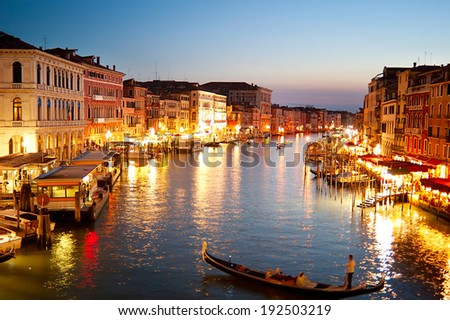 Beautiful Grand canal at dusk in Venice. View from Rialto Bridge
