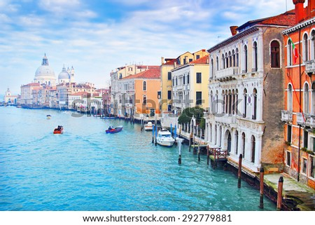 Beautiful Grand Canal in Venice, Italy. It is one of the most famous touristic destinations in the world. Celebrated historic buildings rising above the river. - stock photo