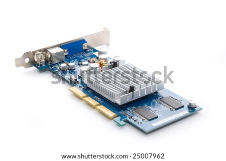Beautiful graphic accelerator (video computer card) isolated on white - stock photo