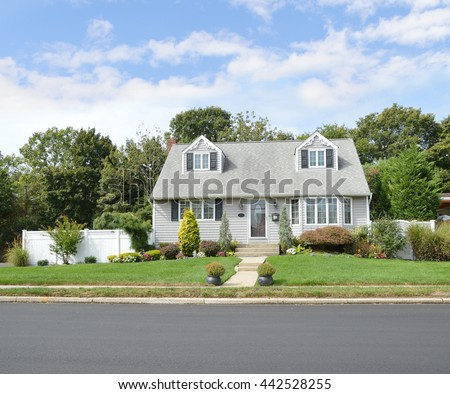 Beautiful Gray Suburban Home Landscaped Sunny Blue Sky Clouds Residential Neighborhood USA