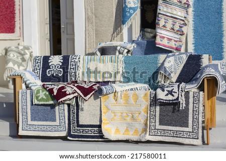 Beautiful Greek handmade rugs in close up - stock photo