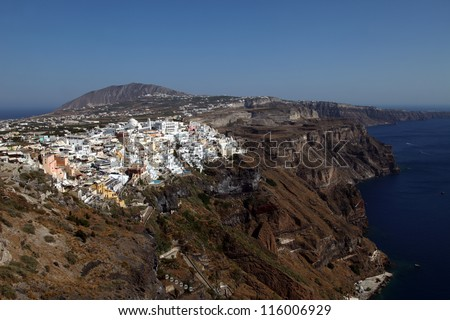Beautiful Greek island Santorini and Sartorini center village Fira, Greece.