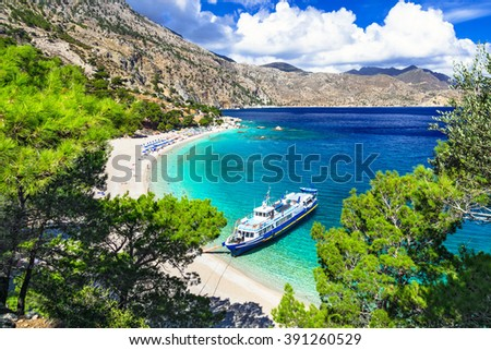 beautiful Greek islands - Karpathos, Apella beach - stock photo