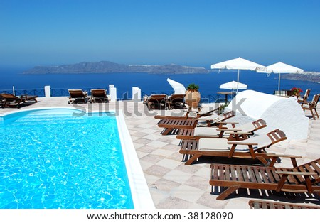 Beautiful Greek resort with sea background, Santorini Island, Greece