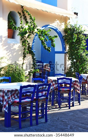 Beautiful greek tavern. Mediterranean. - stock photo