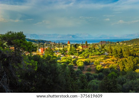Beautiful Greek village on Corfu kyrkyra ionian island Sunset
