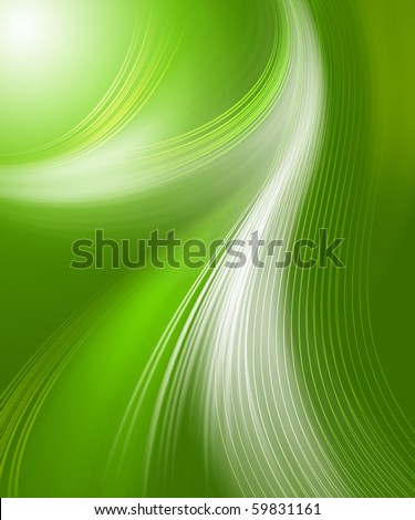 Beautiful green abstract backgrounds in the form of waves and lines - stock photo