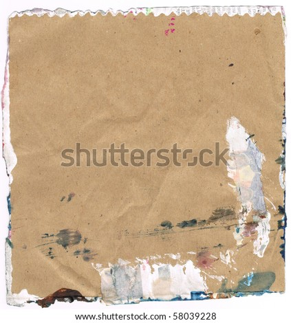 Beautiful green and white paint splatters on classic brown paper- Great for textures and backgrounds for your projects! - stock photo