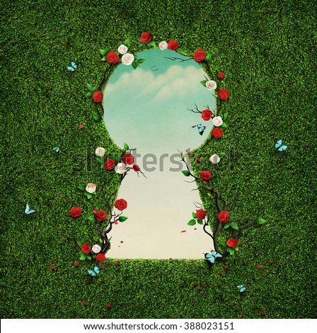 Beautiful green background with roses in keyhole.  - stock photo