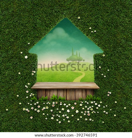 Beautiful green background with rustic table and spring landscape - stock photo