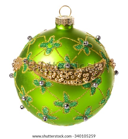beautiful green christmas ball with a Christmas ornament isolated on white background - stock photo