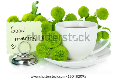 Beautiful green chrysanthemum with cup of tea isolated on white - stock photo