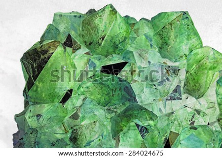 Beautiful Green Crystals - stock photo