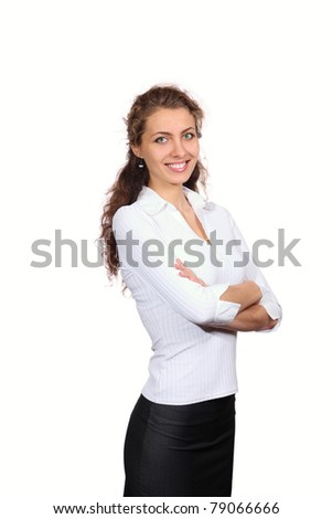 Beautiful green-eyed girl smiling looking at camera, white background