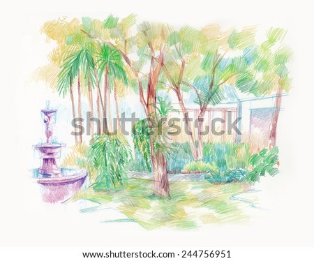 beautiful green garden with fountain artistic illustration - stock photo