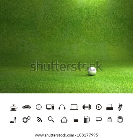 Beautiful green grass lawn texture background. - stock photo