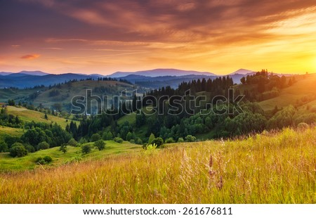 Beautiful green hills glowing by sunlight at twilight. Dramatic scene. Colorful sky, yellow clouds. Carpathian, Ukraine, Europe. Beauty world.