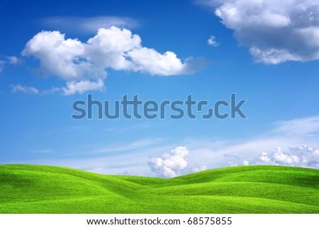 Beautiful green landscape - stock photo
