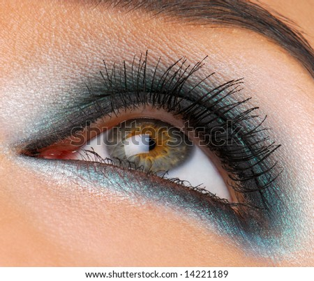 Beautiful green make-up, macro shot of female human eye - stock photo