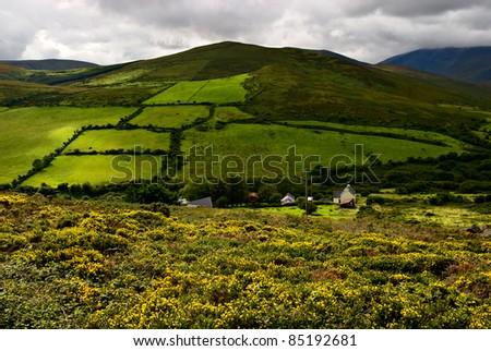 beautiful green mountain landscape on Dingle peninsula, Ireland - stock photo