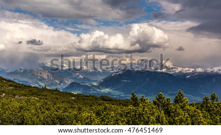 Beautiful green mountain landscape with trees in Renon, Italy, South Tyrol