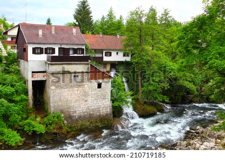 beautiful green nature and waterfalls on Korana river in village of Rastoke, Croatia.