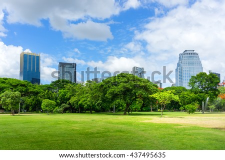 Beautiful green park garden with city view.