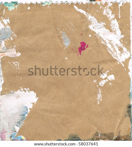 Beautiful green, pink and white paint splatters on classic brown paper- Great for textures and backgrounds for your projects! - stock photo