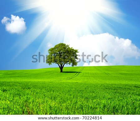 Beautiful green planet - stock photo