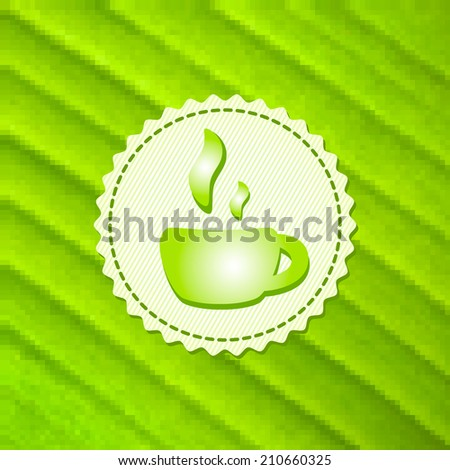 Beautiful green tea cup on stylish mosaic background. Square illustration. Menu for restaurant, cafe, bar, coffeehouse. Eco style. - stock photo