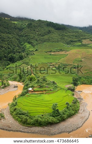 Beautiful green terraced rice field  in Mu Cang Chai, Vietnam.