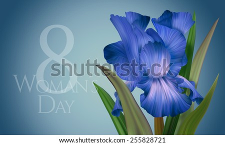 Beautiful Greeting Card, Banner, Poster for Woman's Day with original artistic colorful fantasy blue and indigo iris. Beauty, Fashion, Celebration and other. - stock photo