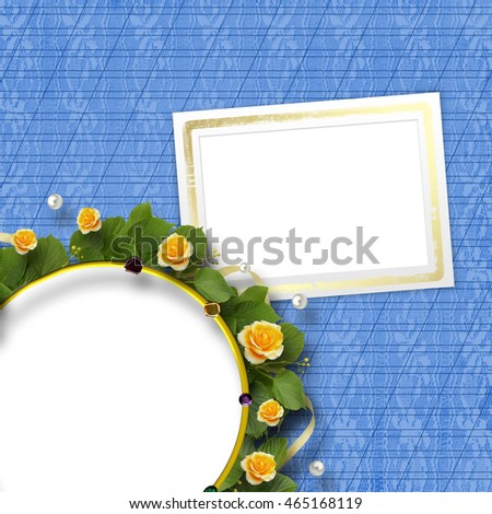 Beautiful greeting card with bouquet of yellow roses, ribbons and round frame