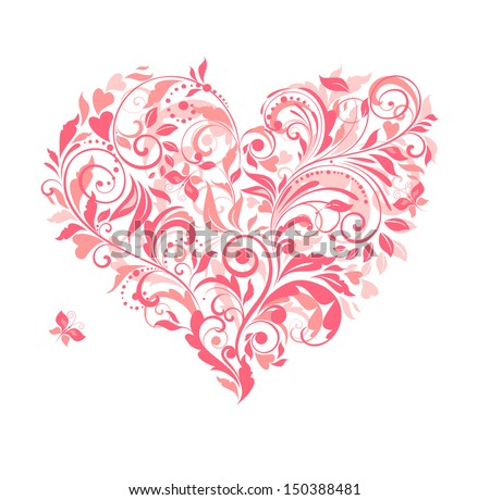 Beautiful greeting card with pink floral heart. Raster copy - stock photo