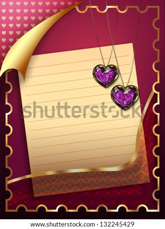 Beautiful greeting card with sheet of paper and golden heart pendant.
