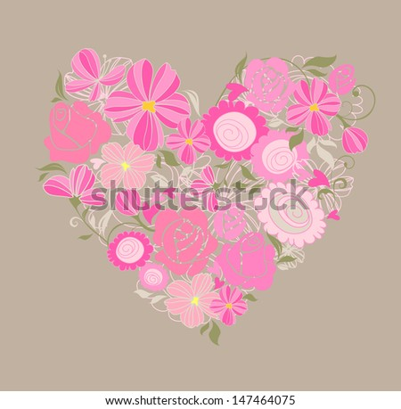 Beautiful greeting floral card. Raster copy of vector image - stock photo