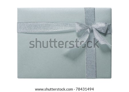 Beautiful grey gift box with silver ribbon isolated on white background