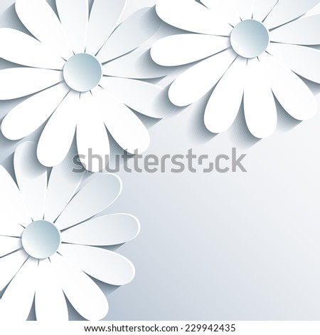 Beautiful grey wallpaper with 3d white chamomile. Creative modern abstract background. Greeting or invitation card for life events. - stock photo
