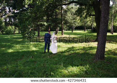 Beautiful groom and bride standing back on a trees background