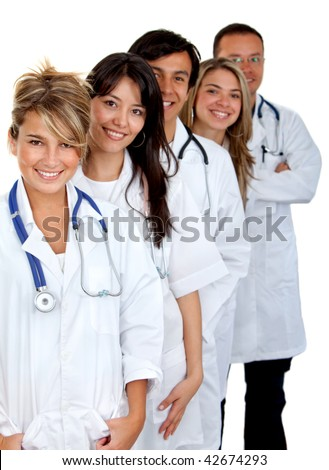 Beautiful group of doctors together smiling isolated on white - stock photo