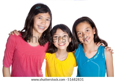 Beautiful group of girl friends from different ethnic background - stock photo