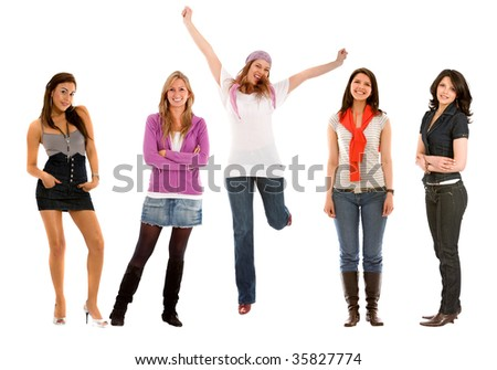 Beautiful group of happy fullbody women isolated