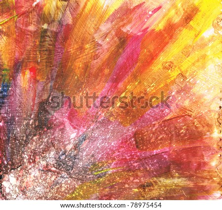Beautiful grunge splatter background in vibrant orange and red- Great for textures and backgrounds for your projects! - stock photo