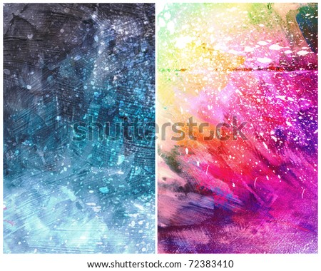 Beautiful grunge splatter background in vibrant pink, yellow and blue- Great for textures and backgrounds for your projects! - stock photo