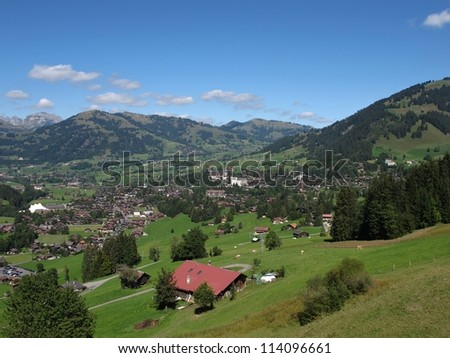 Beautiful Gstaad, Famous Holiday Resort - stock photo