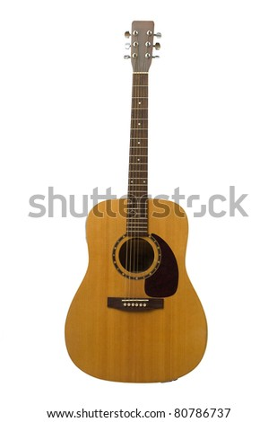 Beautiful guitar isolated on white - stock photo