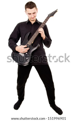 beautiful guy plays the electric guitar isolated on white background