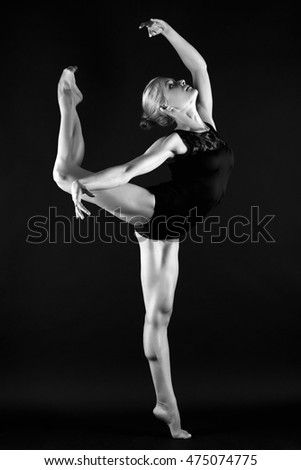 beautiful gymnast girl dancing.beauty young woman.dance.fashion monochrome portrait