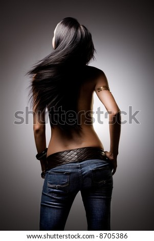 Beautiful hair from behind - stock photo